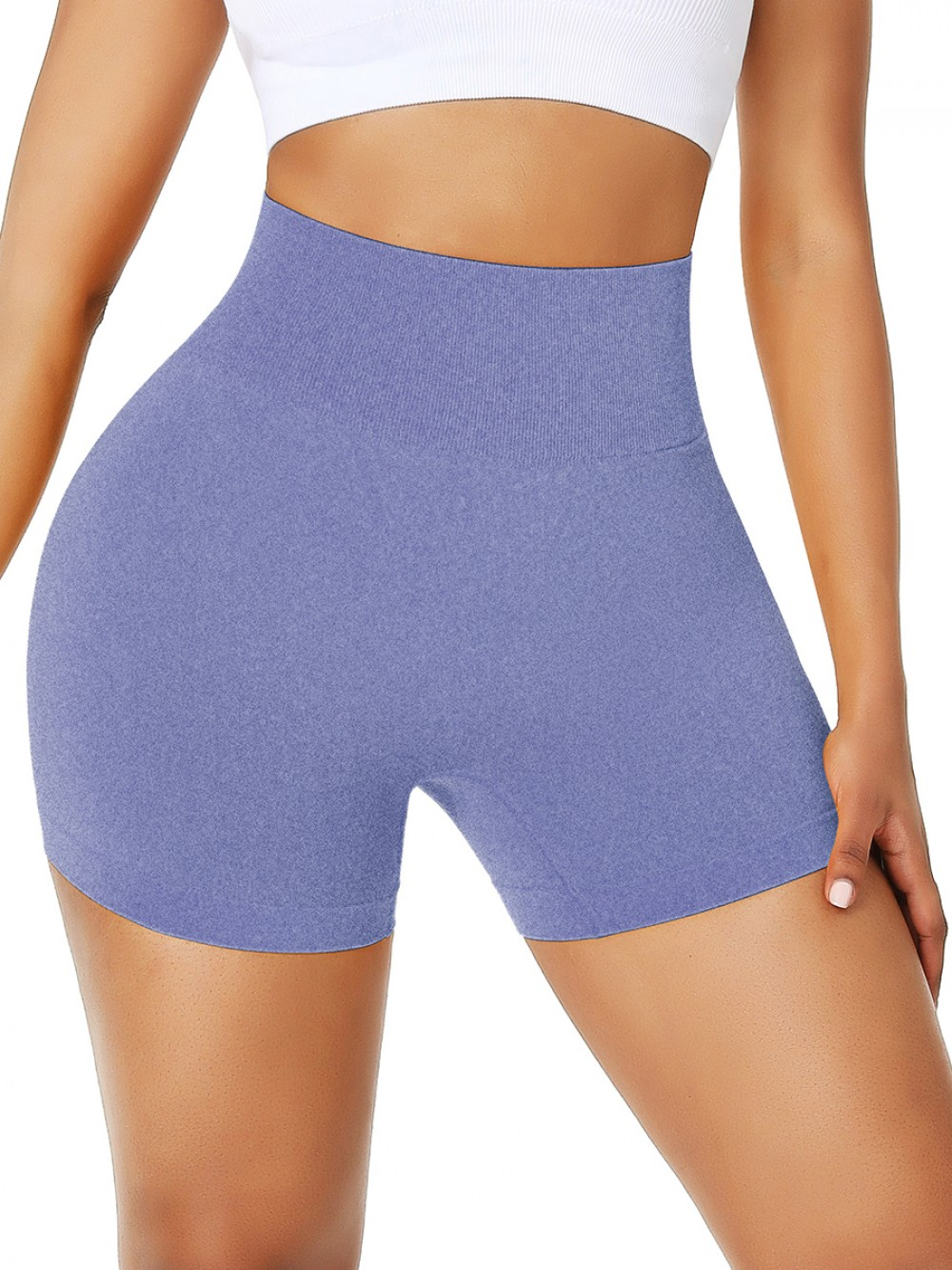 Royal Blue Seamless Solid Color Workout Running Shorts Elastic Material