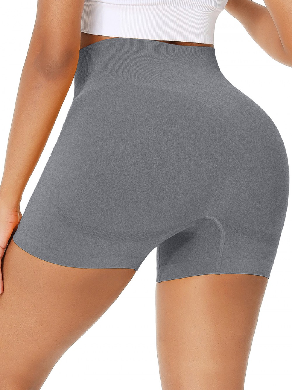 Energetic Gray Wide Waistband Seamless Running Shorts Refined Outfit