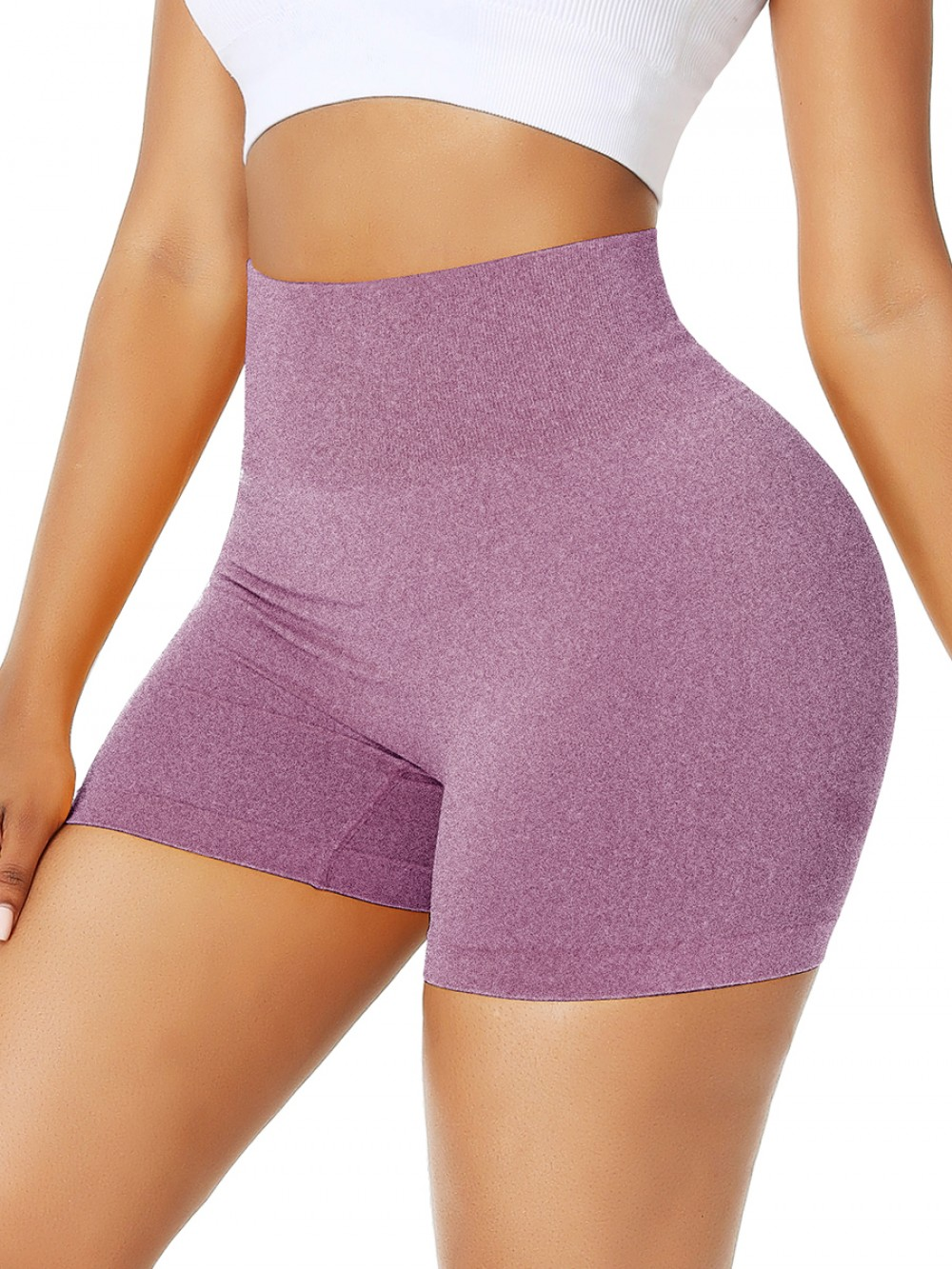 Light Purple Short Athletic Shorts Solid Color High Rise For Workout