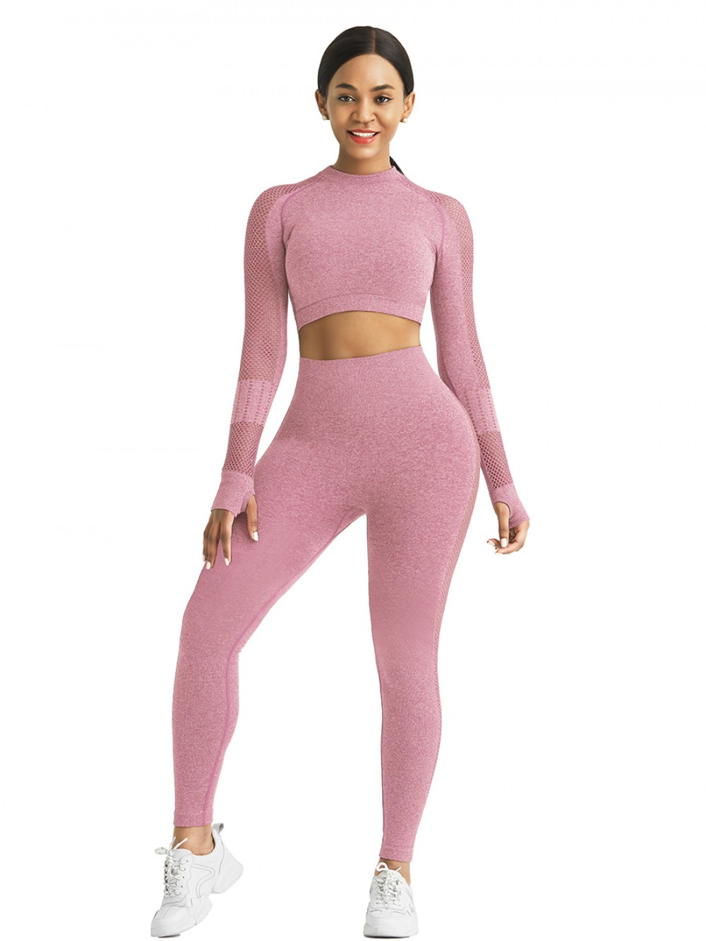 Comfortable Light Pink Mesh Patchwork Sport Top Full Sleeve For Running