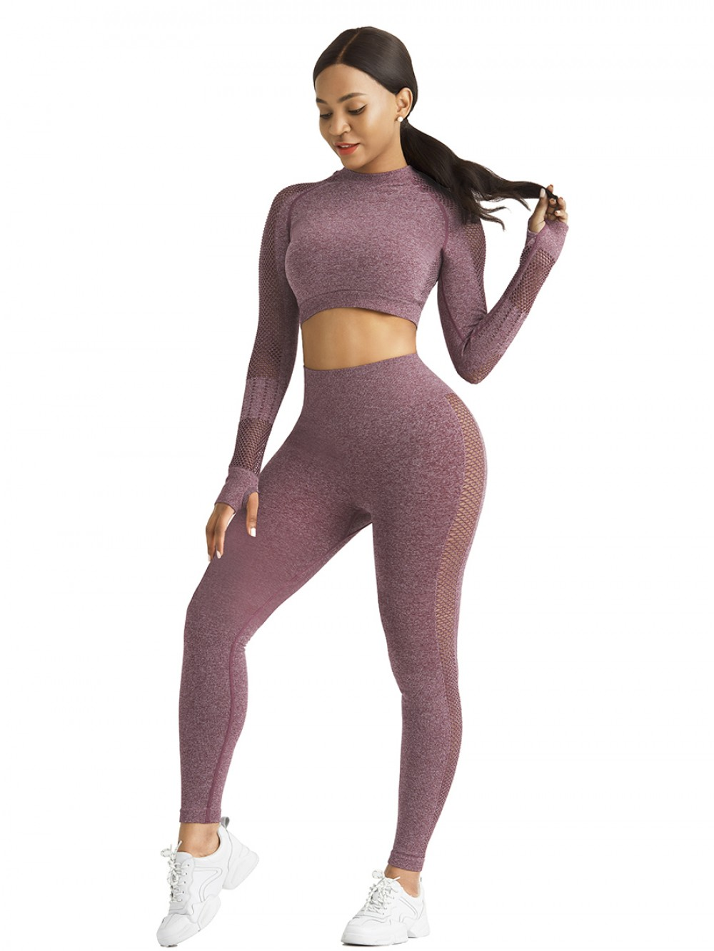 Comfortable Wine Red Mesh Patchwork Yoga Top Crew Neck Smooth