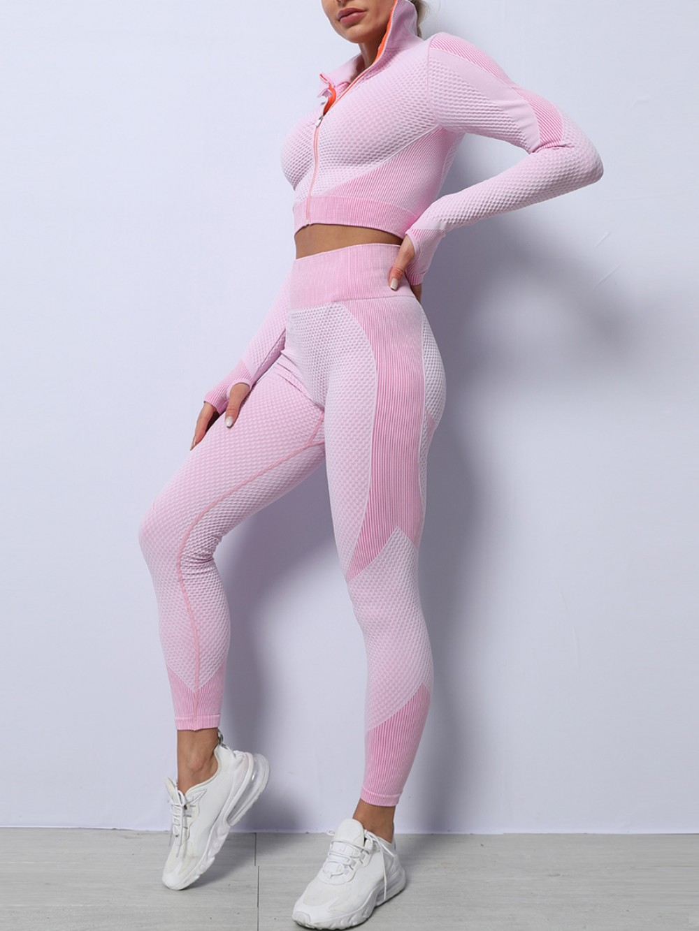 Light Pink High Waist Yoga Suit Colorblock With Thumbhole Sports Series