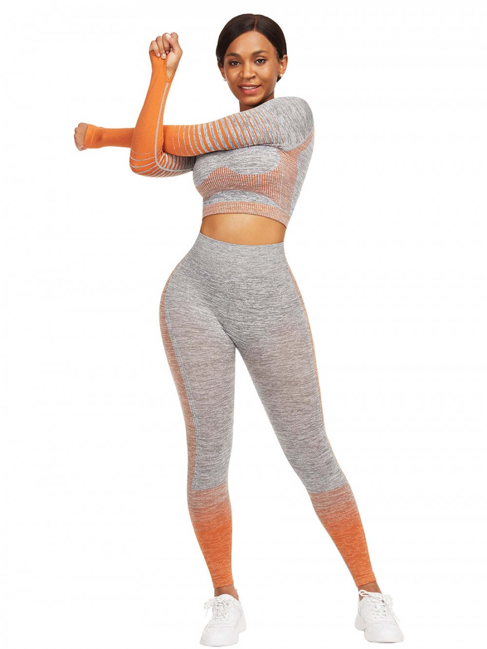 High Elastic Orange Long Sleeves Crop Top And Sports Pants Super Sexy
