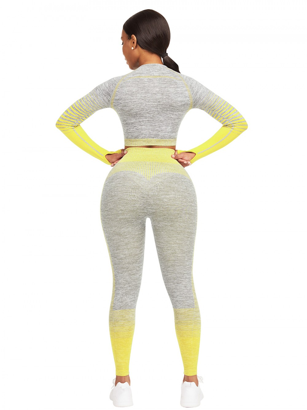Essential Yellow Tie-Dyed Cropped Top High Rise Leggings Sweat Absorption