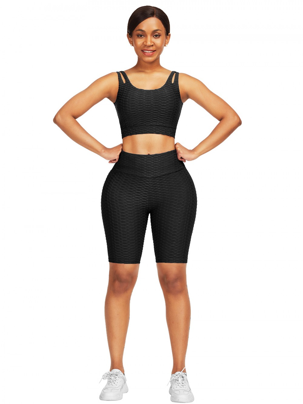 Smooth Black Jacquard High Waist Crop Sports Suit Soft-Touch