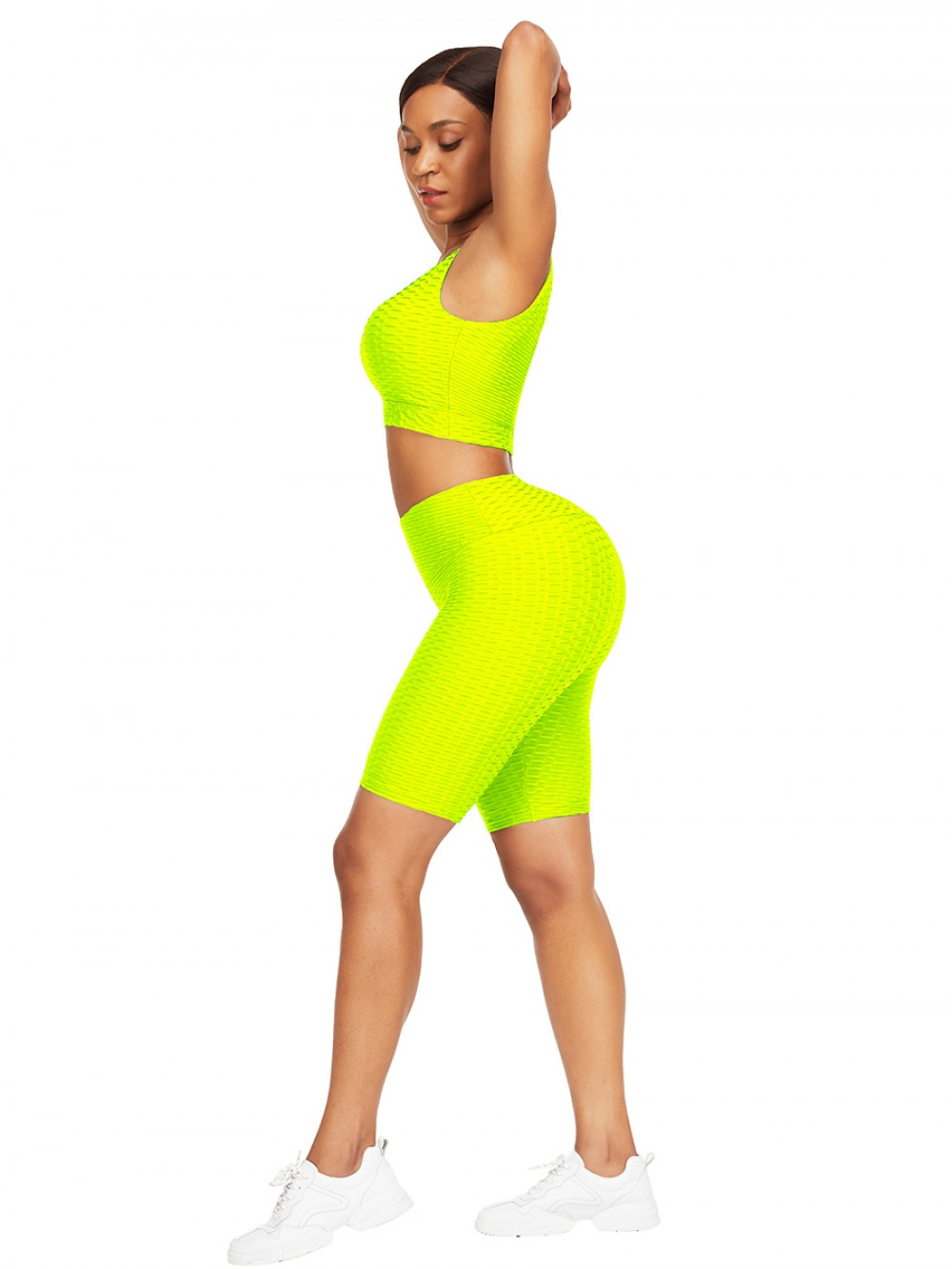 Sleek Yellow Scoop Neck Training Suits High Waist For Upscale
