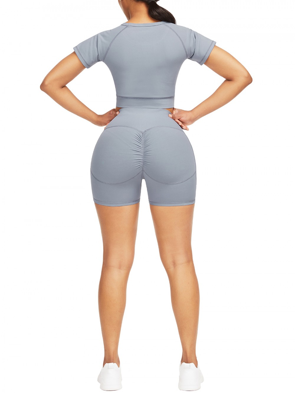 Cool Light Blue Crop Top High Rise Shorts Pleated For Exercising