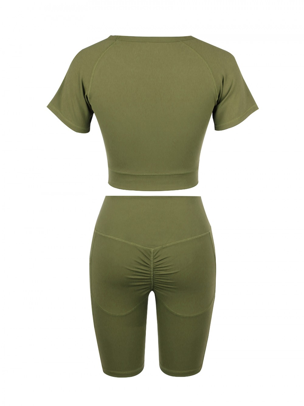 Comfortable Army Green Crew Neck Top Wide Waistband Shorts