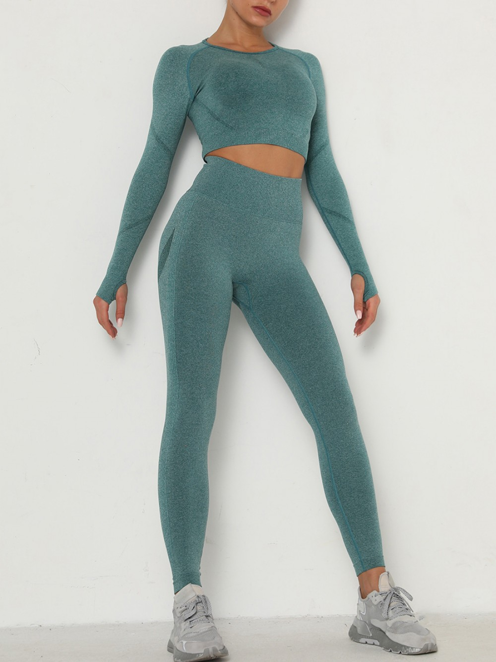 Popularity Green Thumbhole Ankle Length Ruched Sweat Suit Elasticity