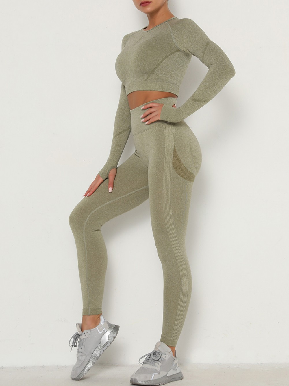 Army Green Knit Crop Top Wide Waistband Leggings For Running