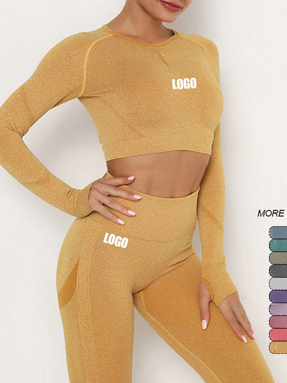 Elastic Yellow Round Collar High Rise Sweat Suit Outfit