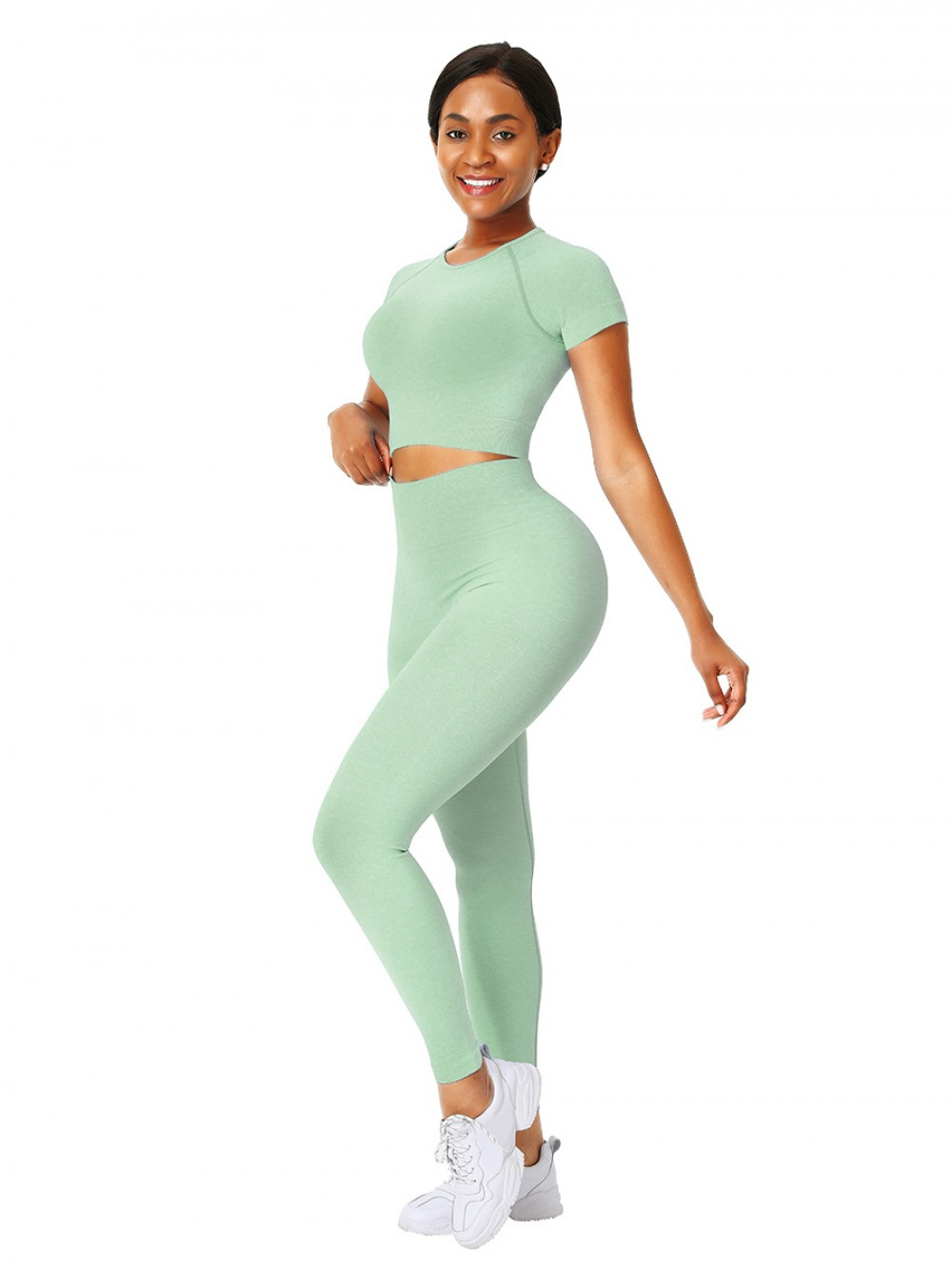 Soft Green Full-Length Legging Seamless Sweat Suit For Vacation