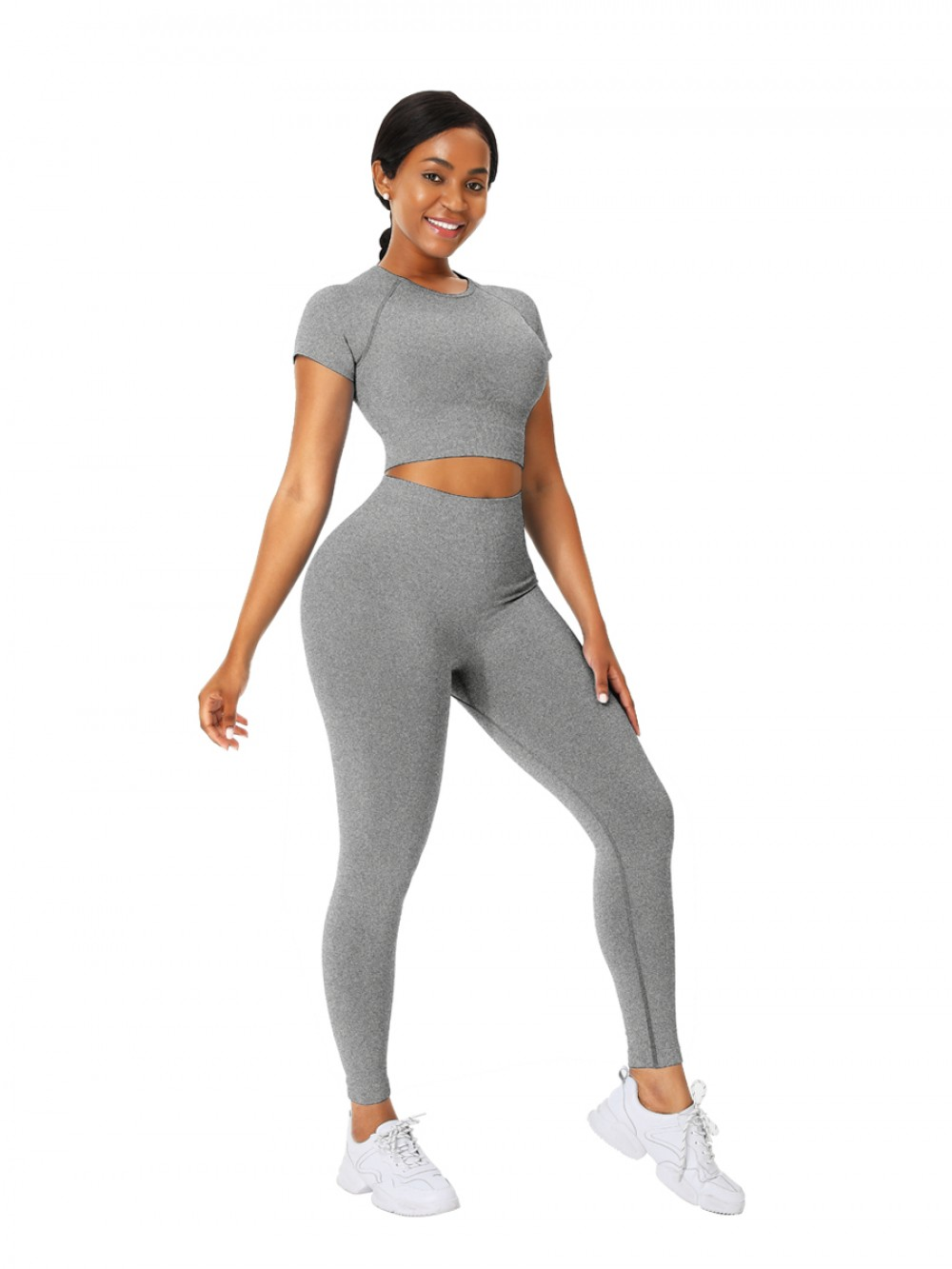 Cozy Gray Solid Color Sports Top Seamless Legging Exercise