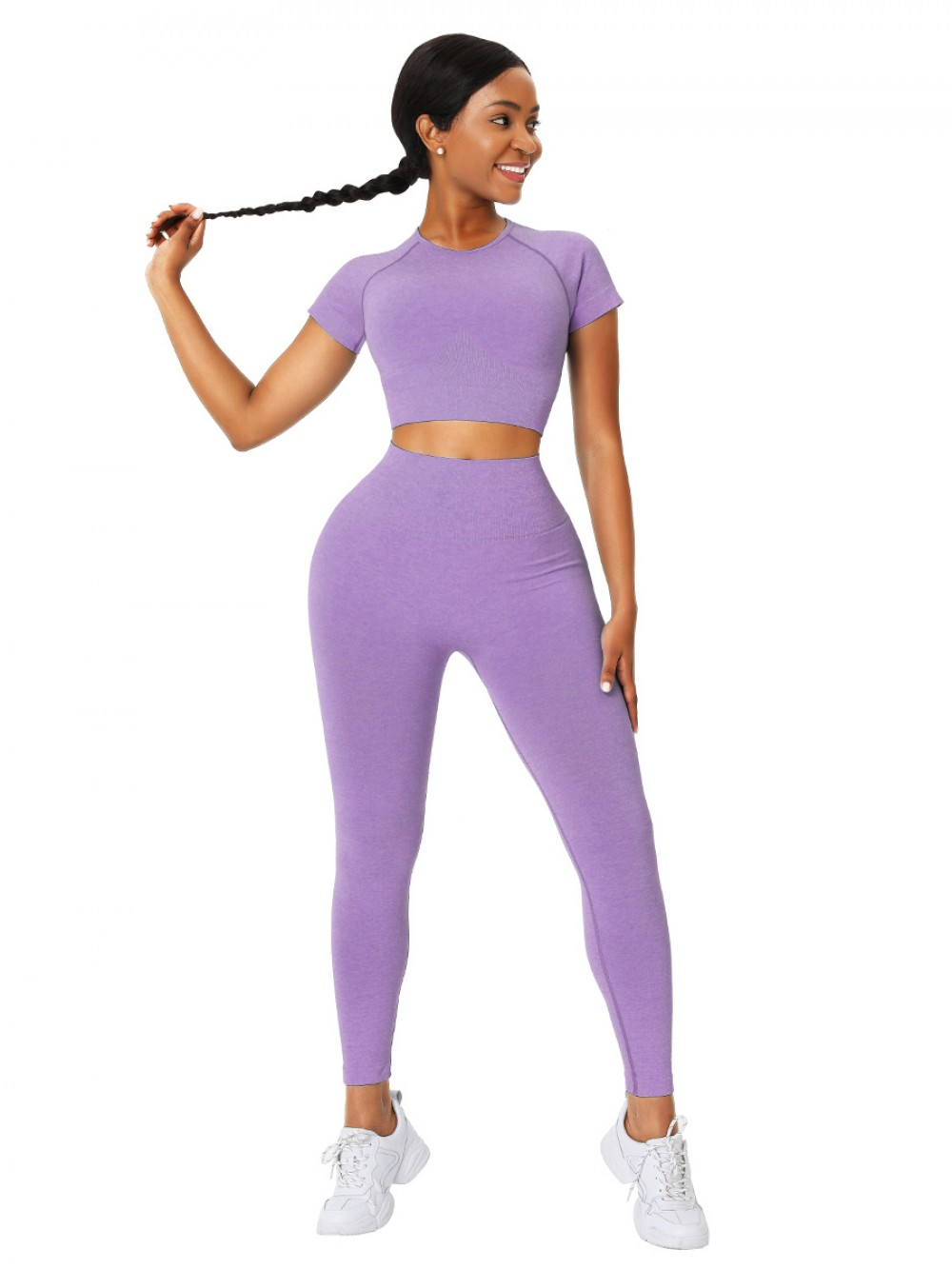 Appealing Purple Crop Short Sleeves Sweat Suit Seamless For Fitness