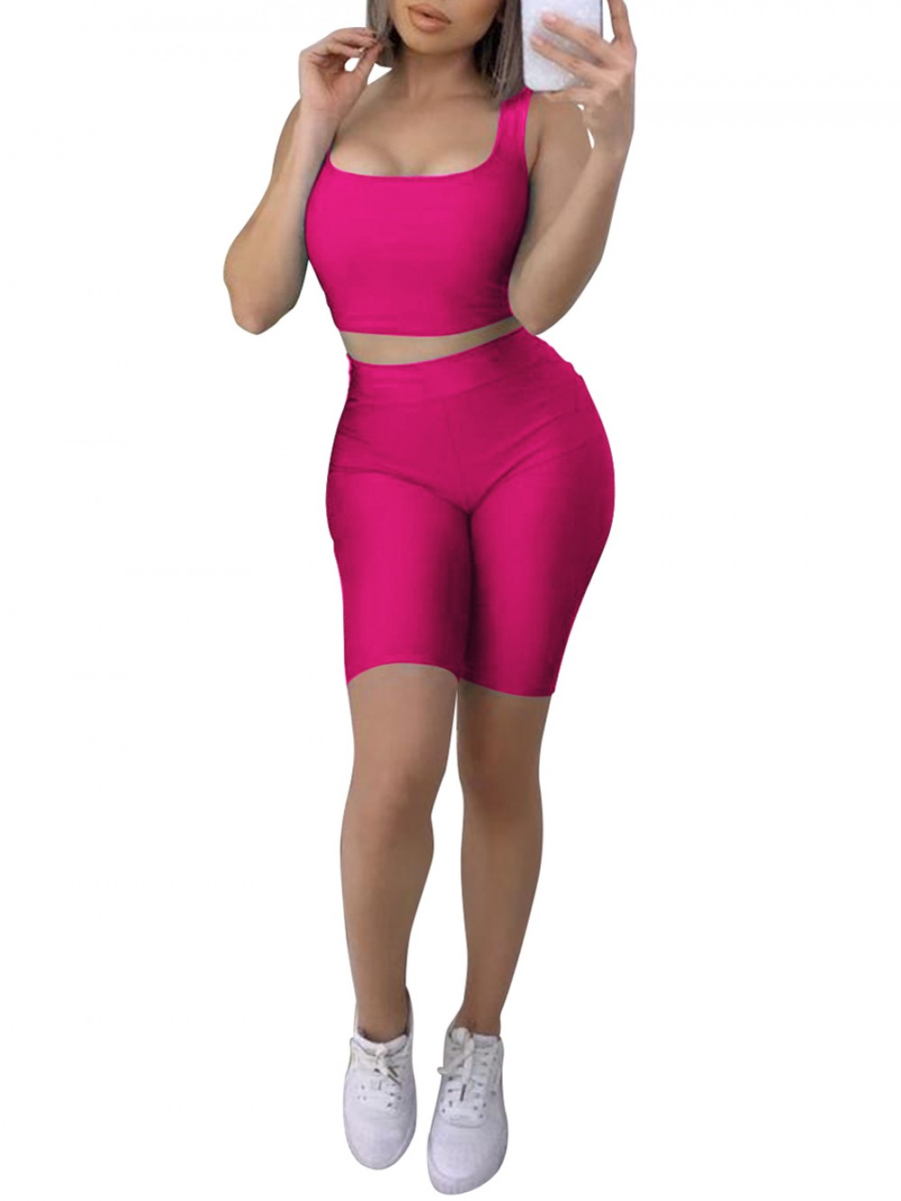 Awesome Rose Red Yoga Top Crop High Waist Shorts Suit Sheath