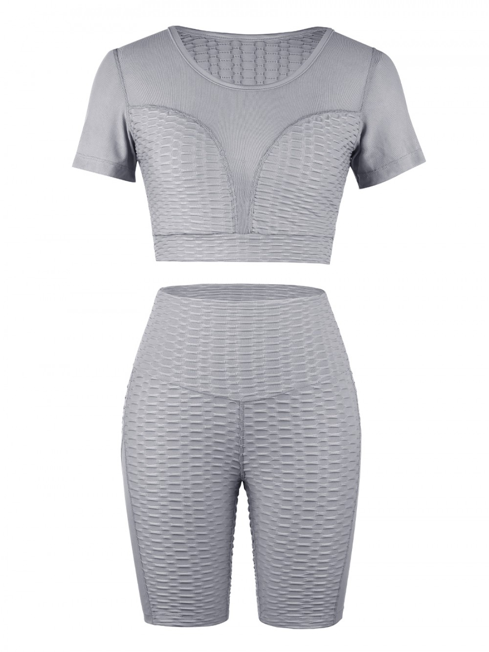 Gymnastic Gray Sports Suit Short Sleeve High Rise Sweat Absorption
