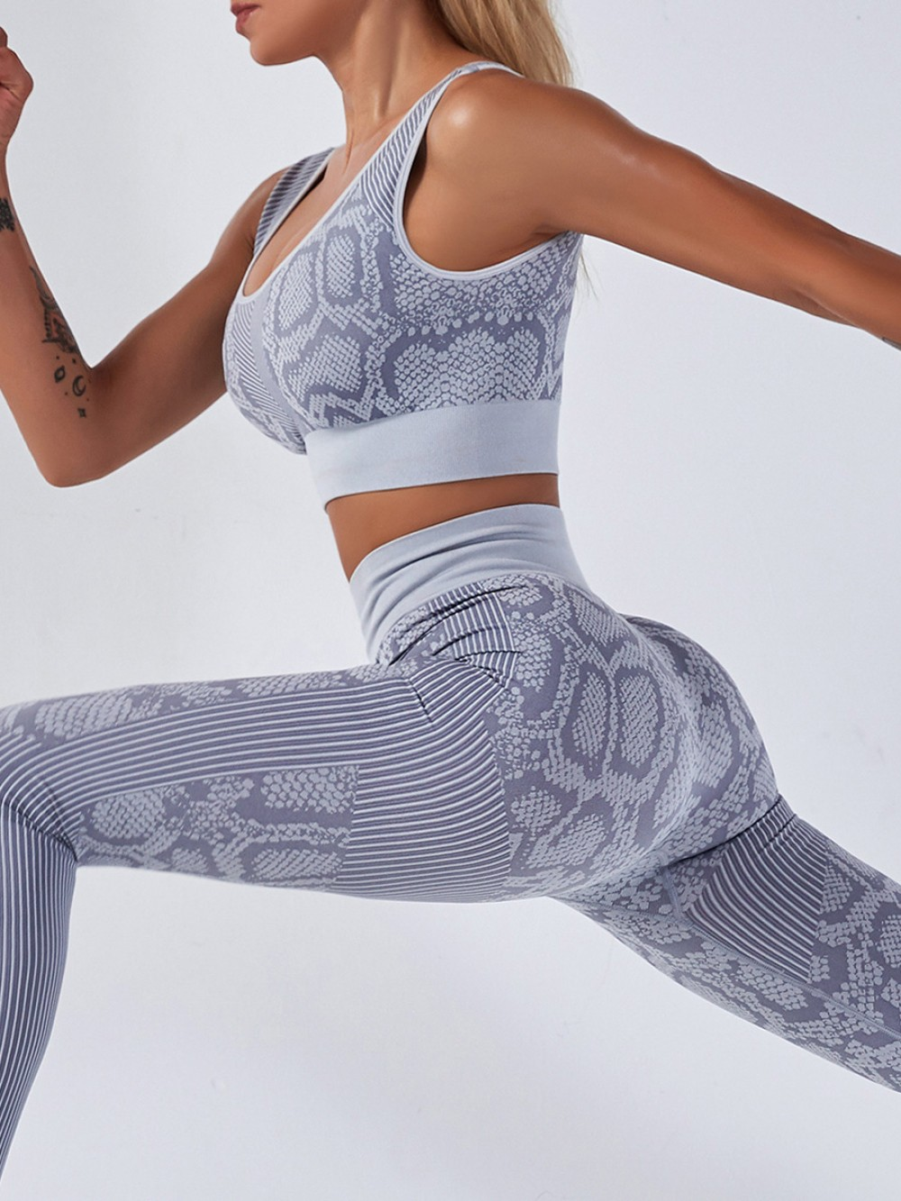 Gray Ankle Length Yoga Two-Piece High Waist Workout Activewear