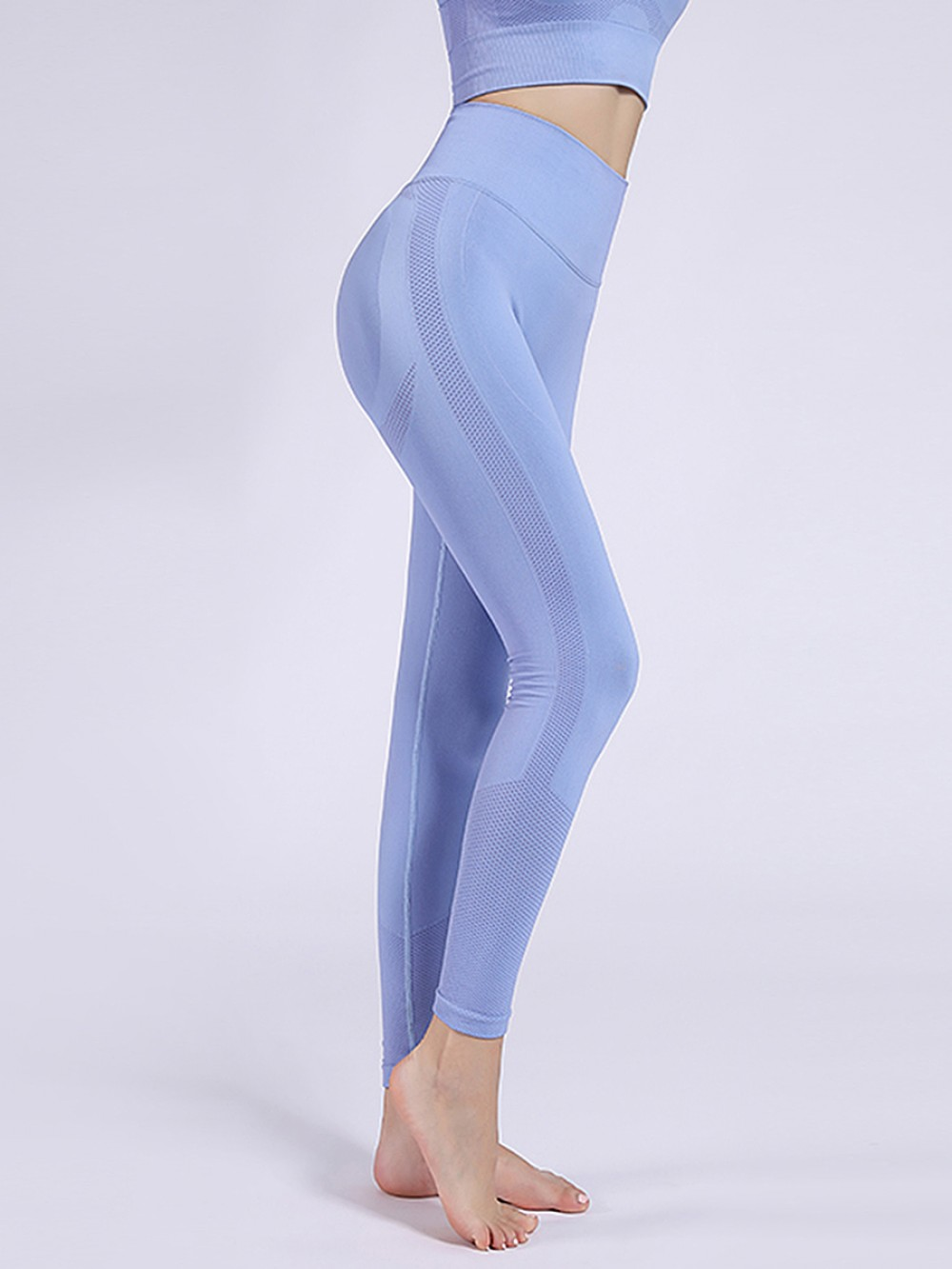 Light Blue Punching Yoga Bra And Ankle-Length Legging Casual Look