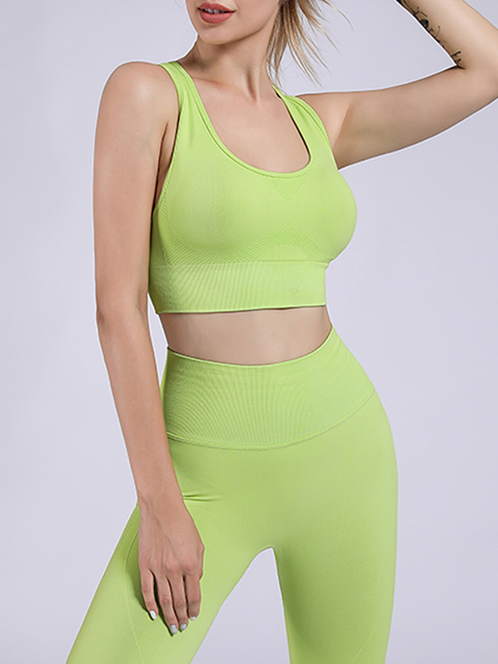 Green Removable Cups Yoga Suit Punching Seamless Women's Clothing