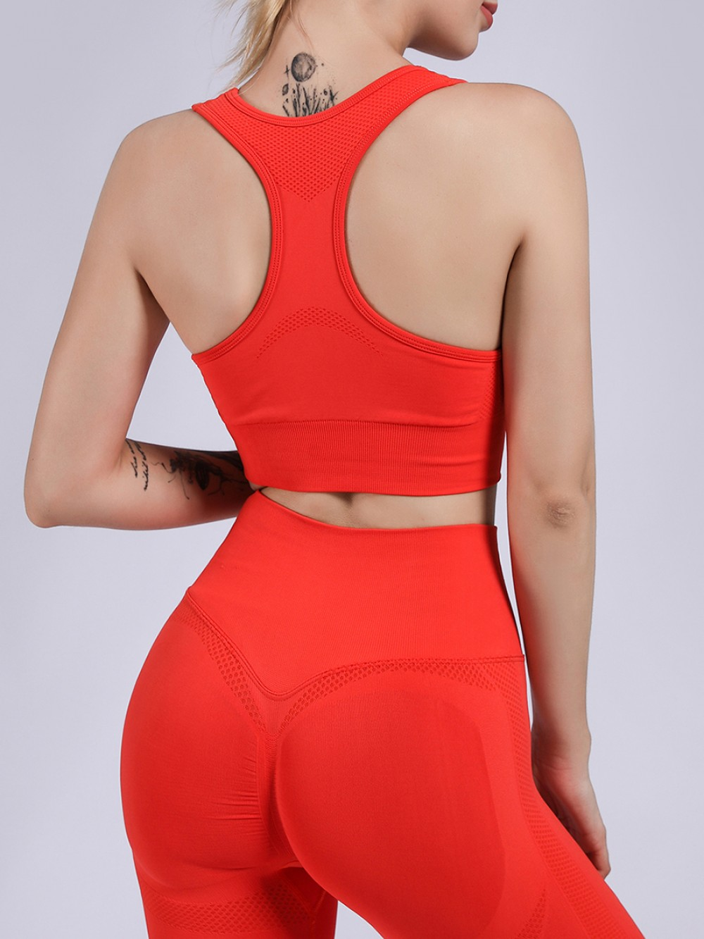 Red Yoga Two-Piece High Waist Removable Cups Latest Fashion