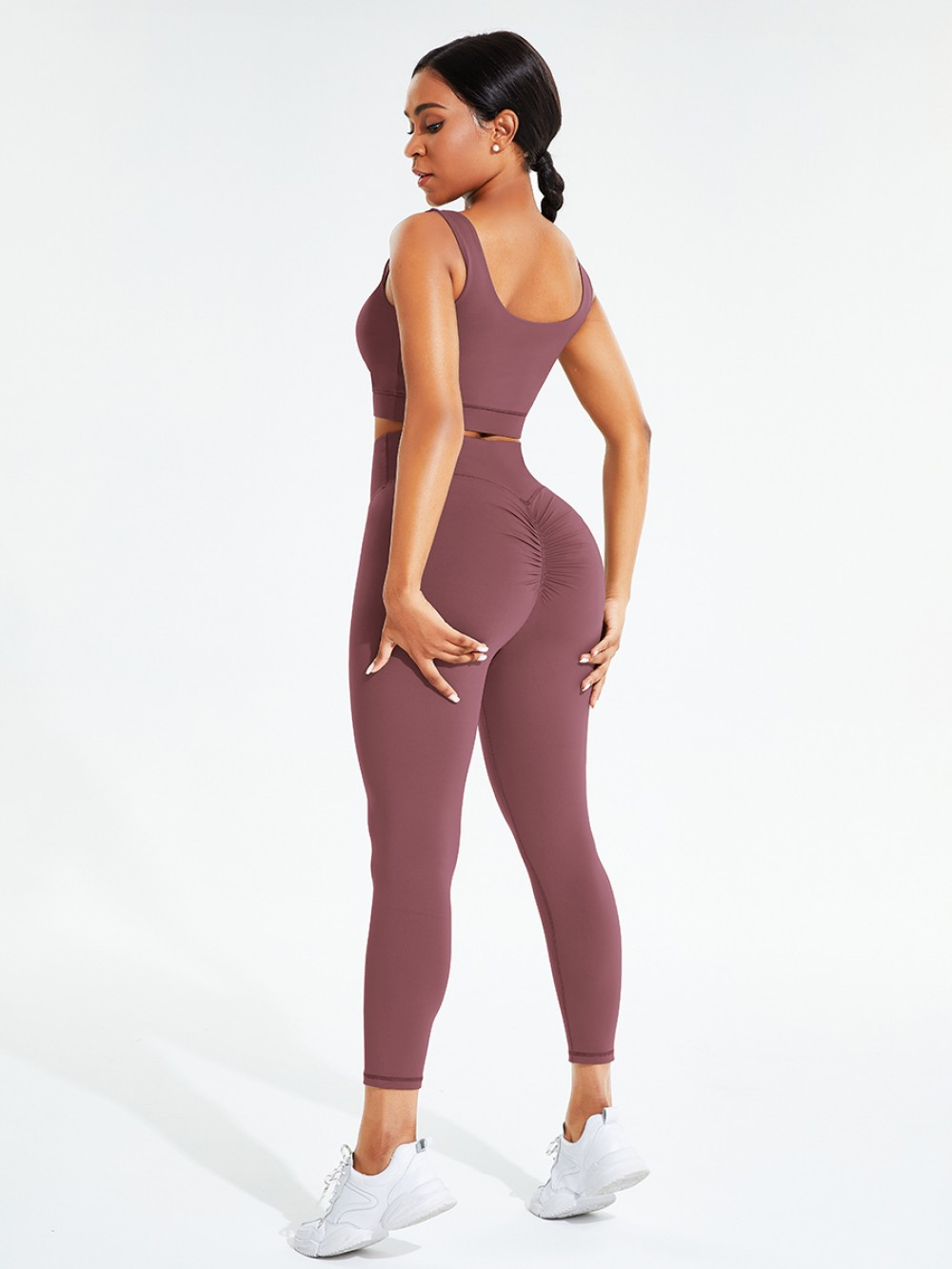 Purplish Red Crew Neck Pleated Solid Color Sweat Suit Ultimate Comfort