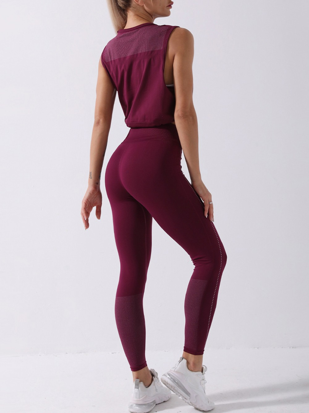 Purple Round Collar High Waist Athletic Suit For Running