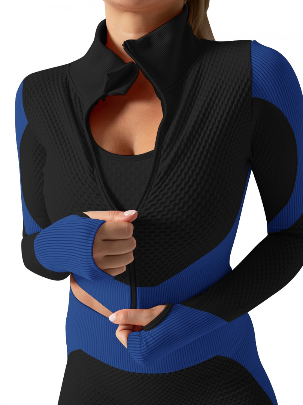 Blue Knit 3 Pieces Sports Suit With Zipper For Women Runner