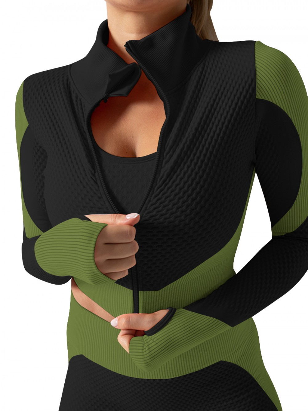 Army Green 3-Piece Sweat Suit Seamless Patchwork Latest Fashion