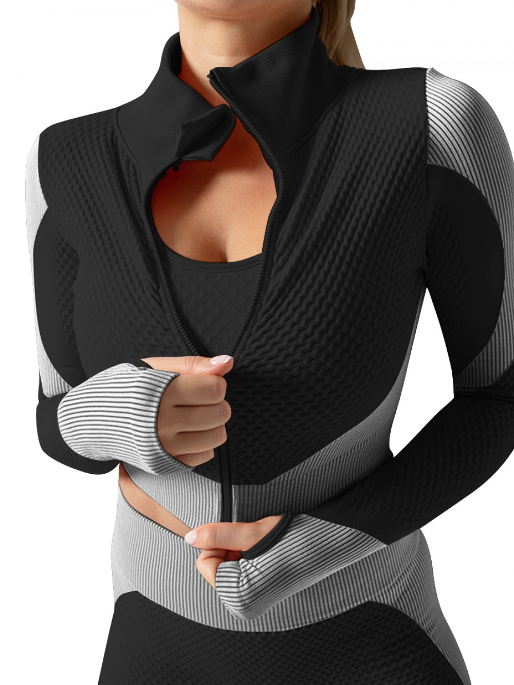 White Wide Waistband Contrast Color 3 Pcs Sweat Suit For Training