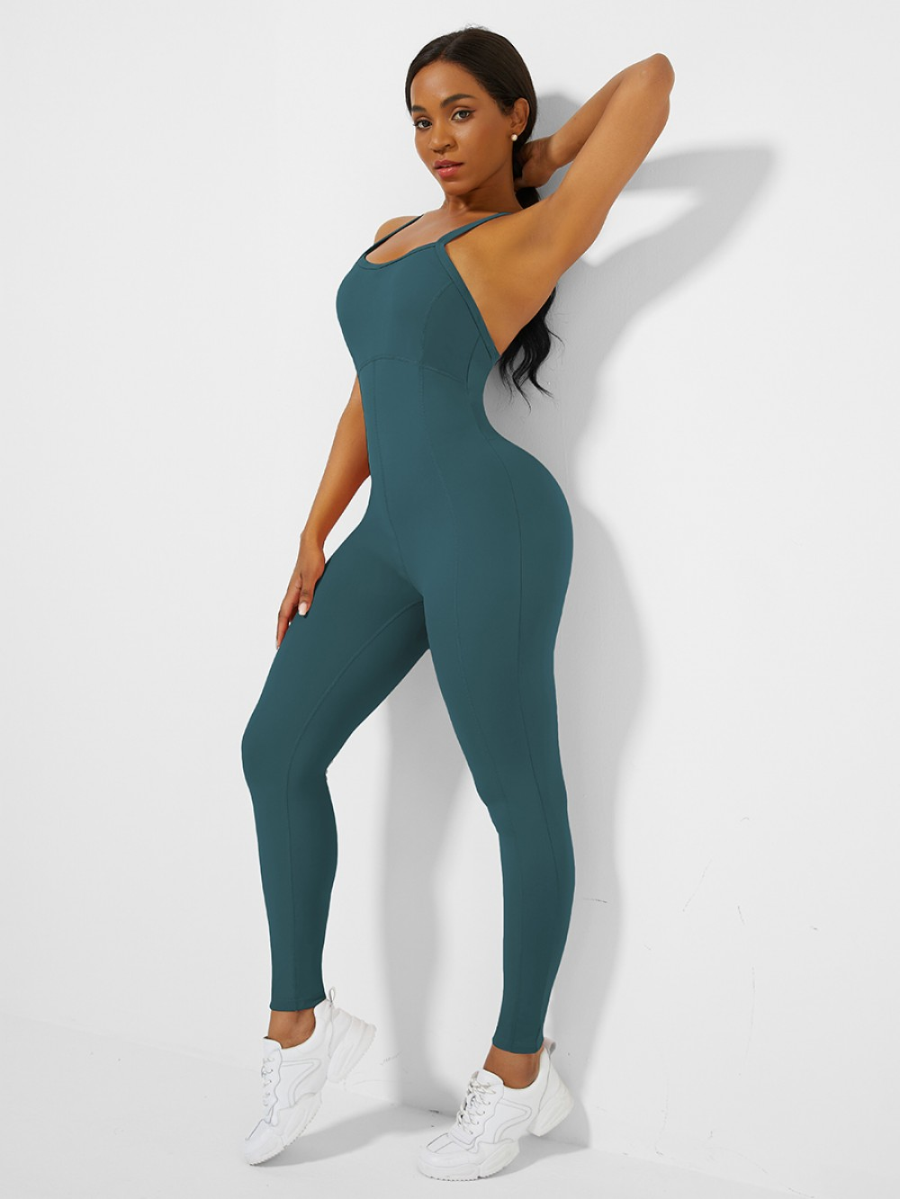 Blue Cross Back Pleated Sling Athletic Jumpsuit Best Materials