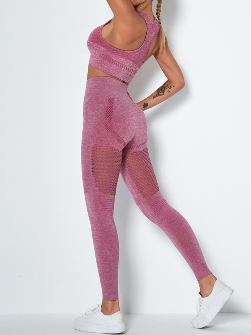 Wine Red Removable Cups Ankle-Length Yoga Suit Quality Assured