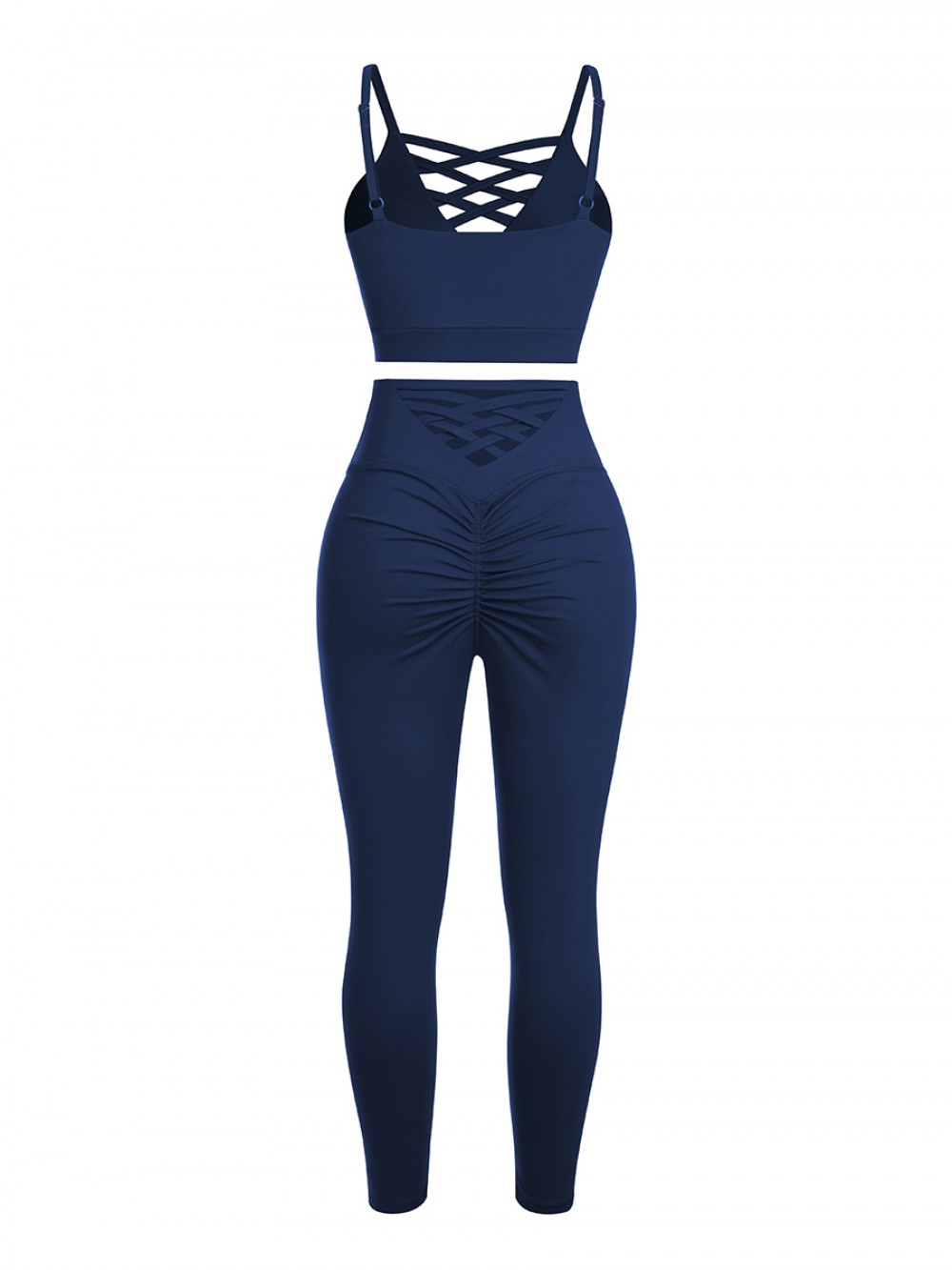 Navy Blue Lace-Up Pleated Gym Sets Full Length For Running