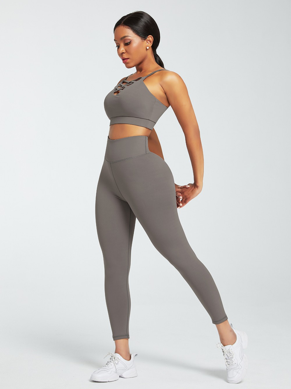 Gray Sports Sets Low Back Wide Waistband Pockets Fabulous Fit