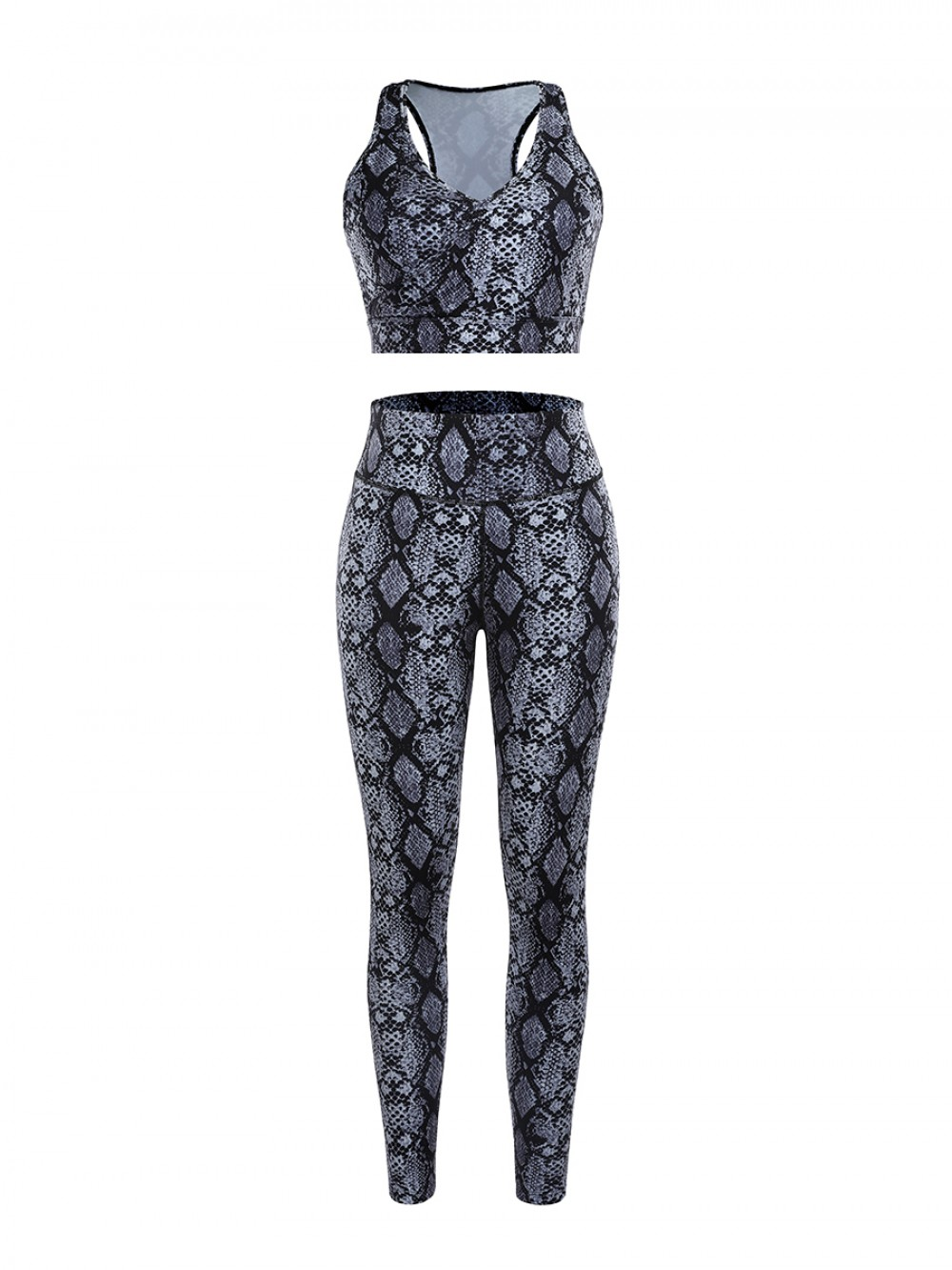 Gray Snake Pattern High Rise Racerback Sweat Suit For Workout