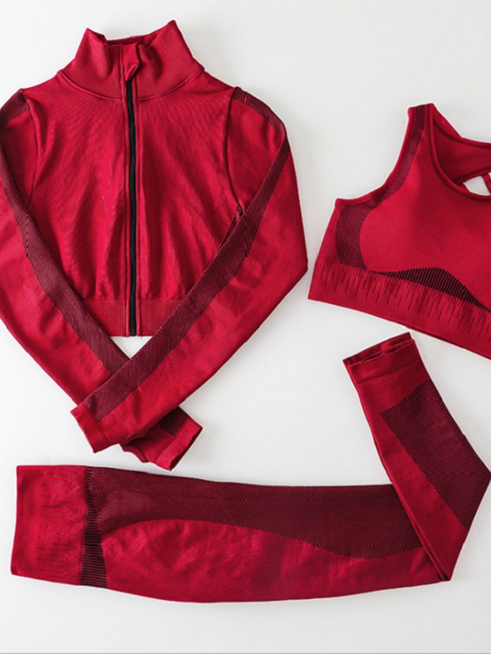 Red 3 Pieces Workout Set Seamless Zipper Refined Outfit