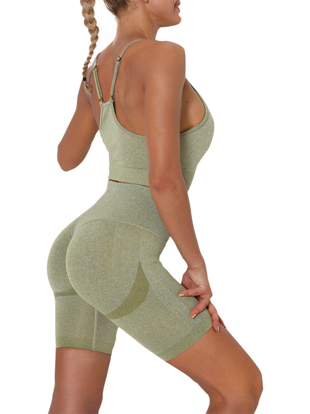 Army Green Thigh Length Seamless Ruched Yoga Suit Preventing Sweat