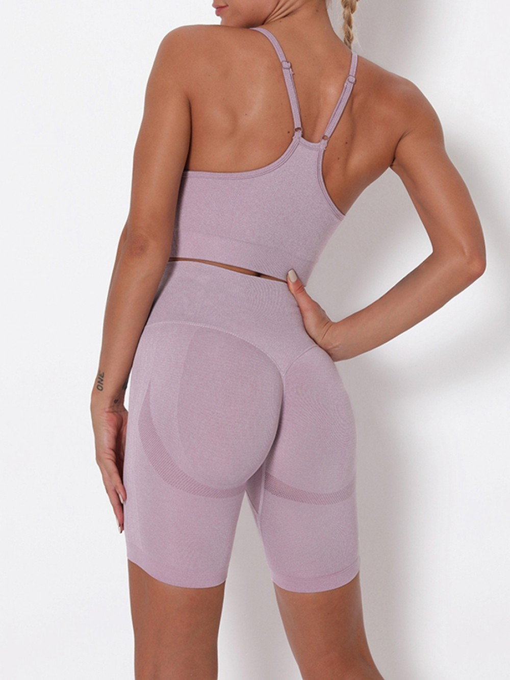 Light Purple Wide Waistband Adjustable Strap Sports Suit For Girls