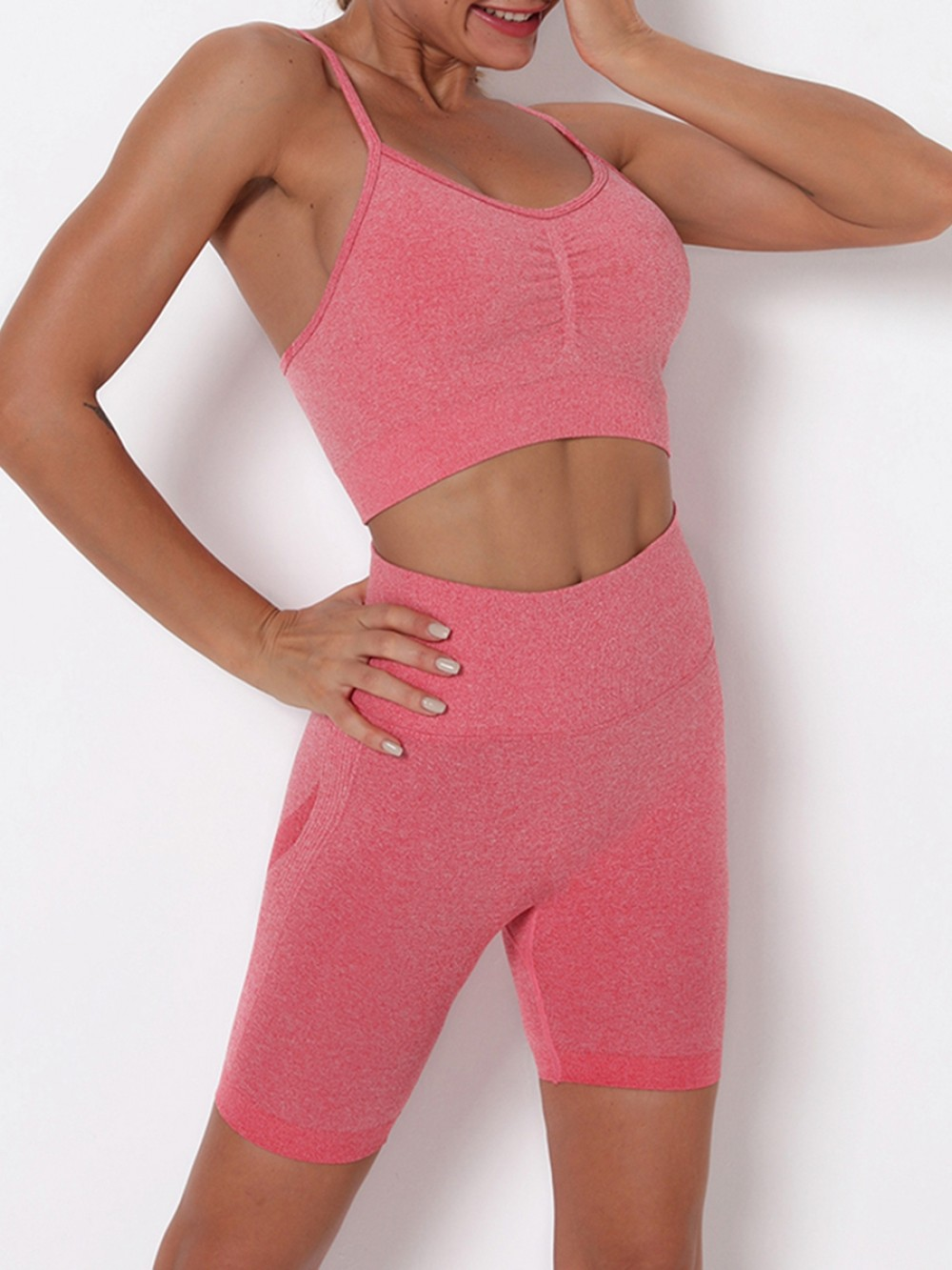 Watermelon Red Pleated Sports Bra High Waist Shorts Slimming Fit