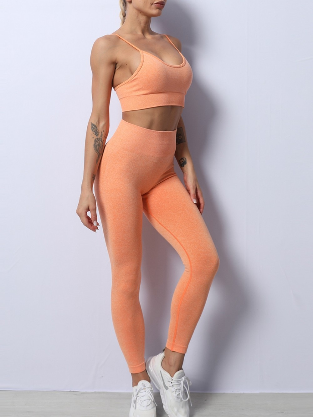 Orange Seamless Solid Color Yoga Suit High Waist Ankle-length