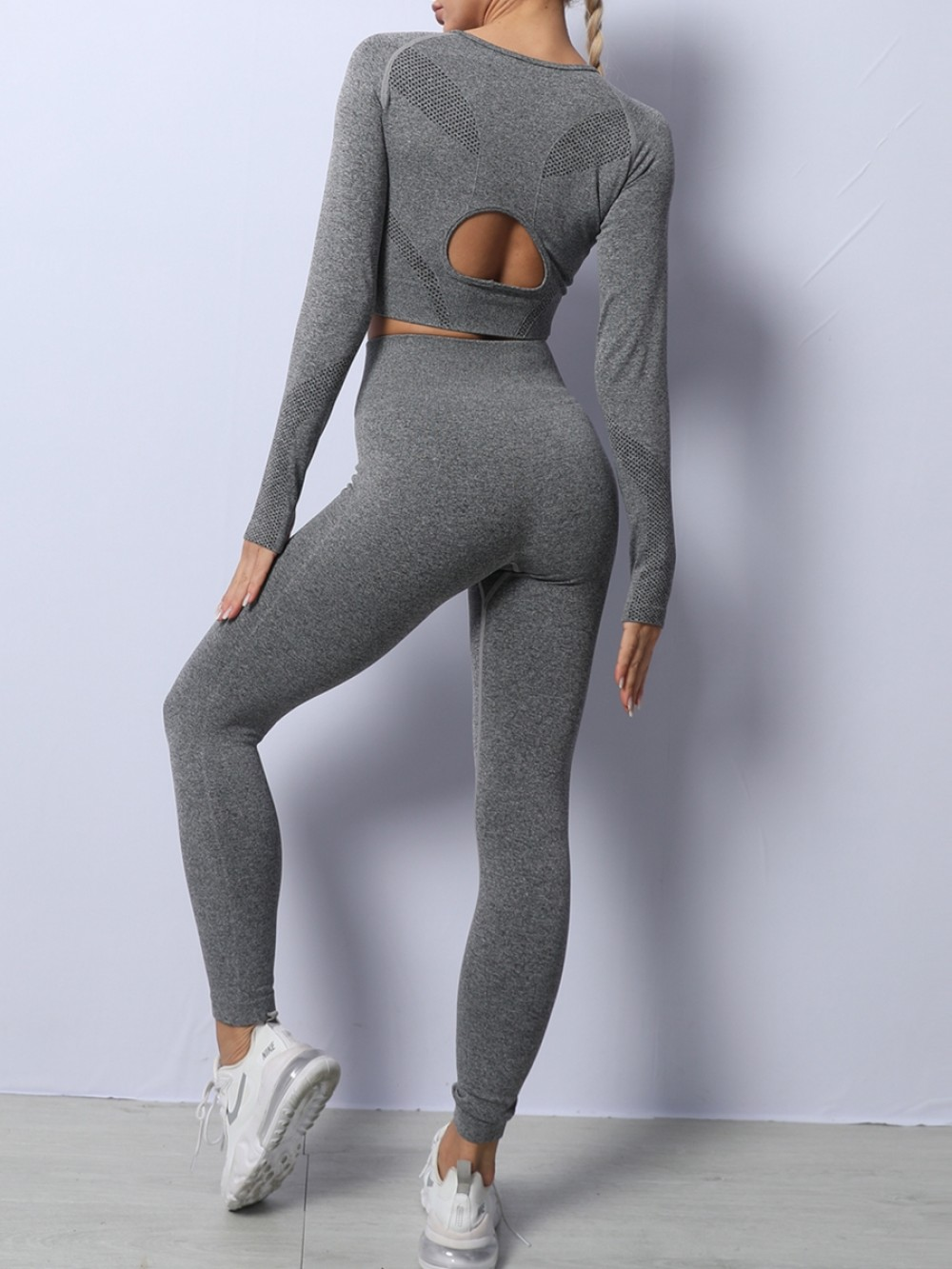 Gray Seamless Long Sleeve Hollow Out Yoga Suit Slim Legs