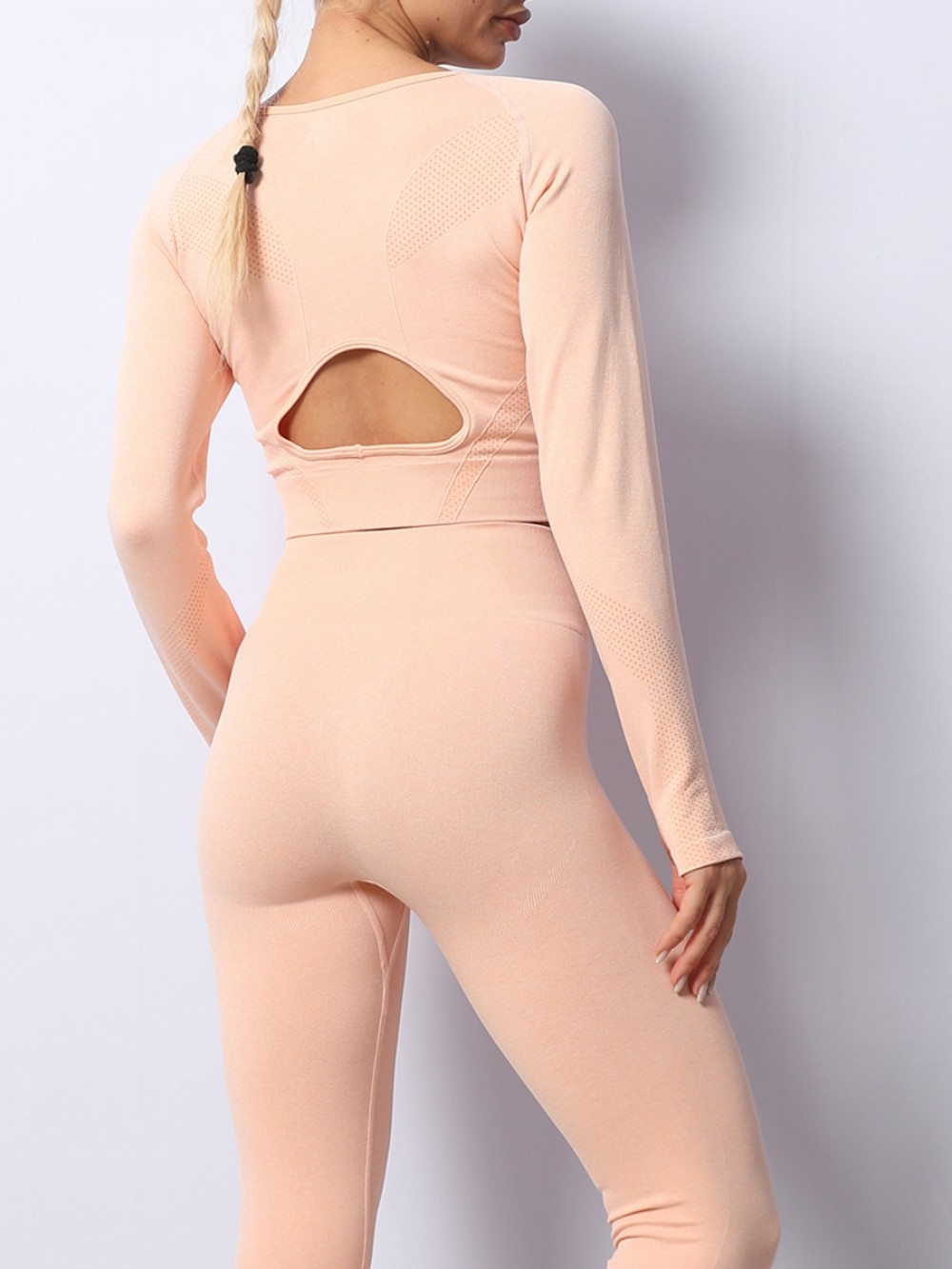 Pink Knit Full Sleeves With Thumb Hole Ladies Gym Wear Sets Soft-Touch