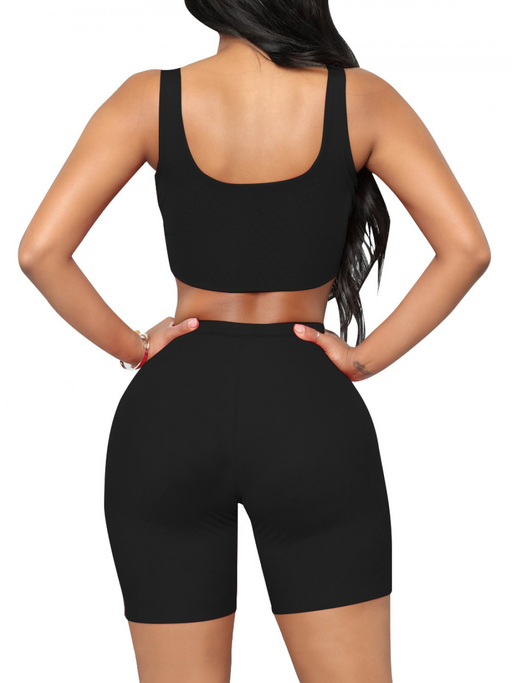 Upgrade Black Training Suits High Waist Scoop Neck Slimming Fit