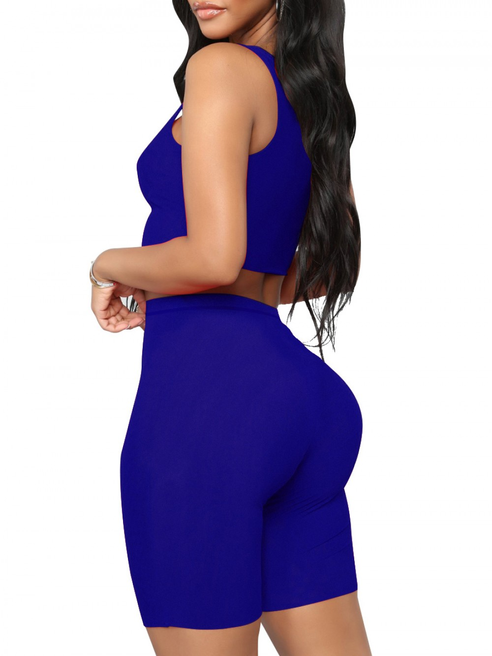 Upgrade Royal Blue Solid Color Tight Sweat Suit High Rise Nice Quality