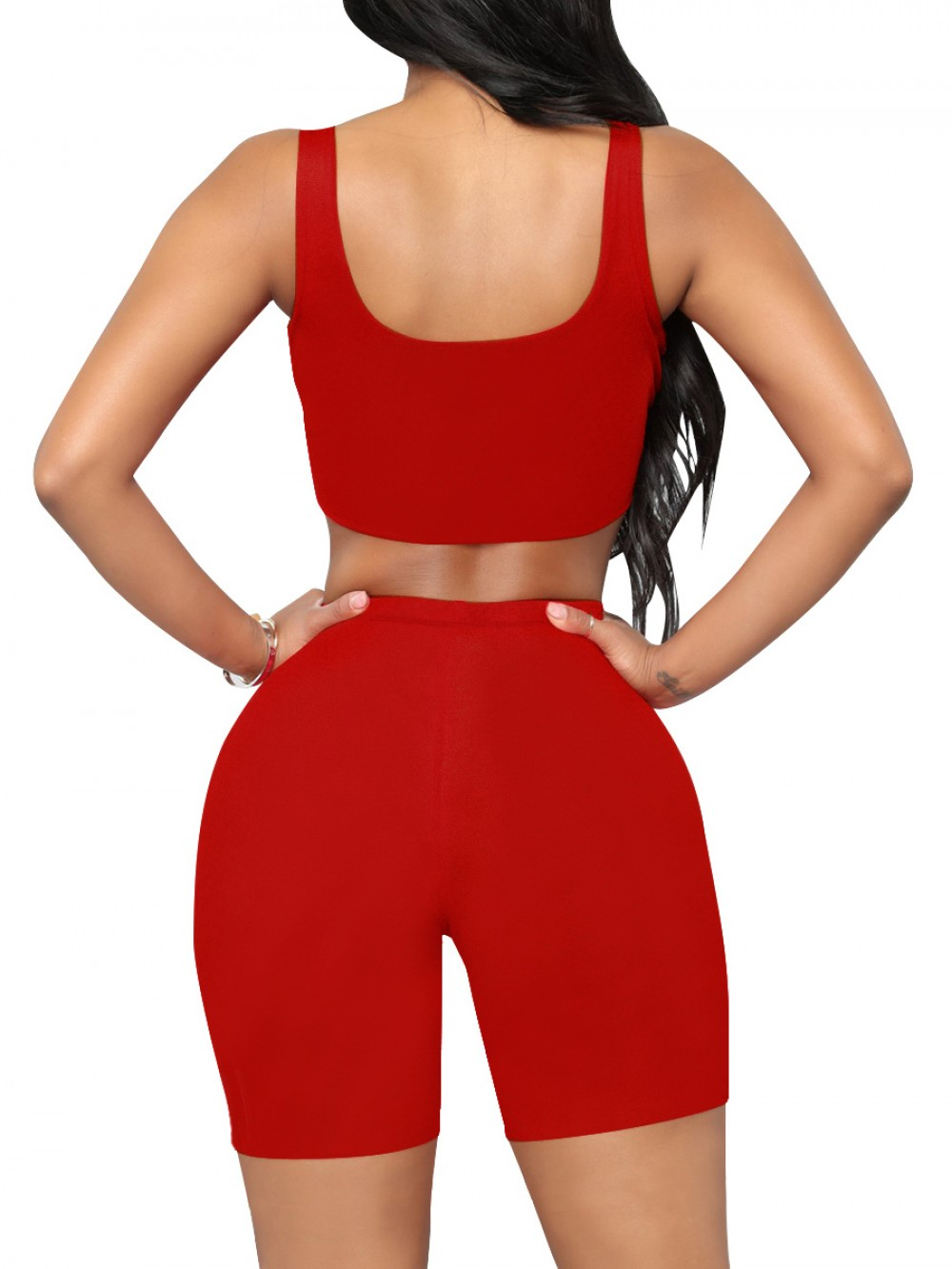 Upgrade Red Sleeveless Top High Rise Sports Shorts Double-Layer Sanded Fabric