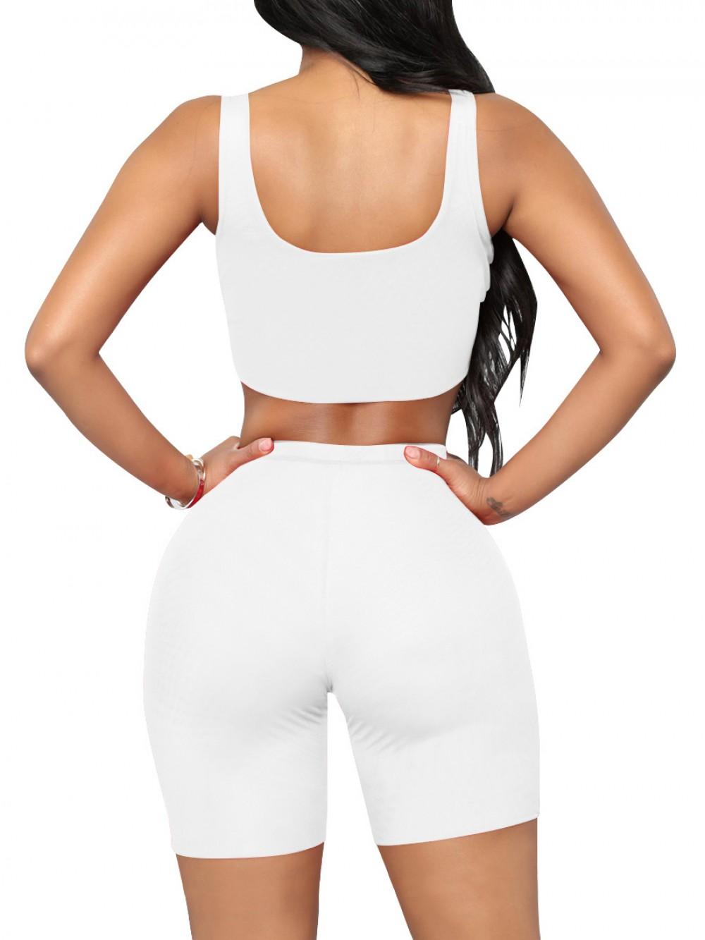Upgrade White Cropped Sports Shorts Suit High Waist Soft-Touch