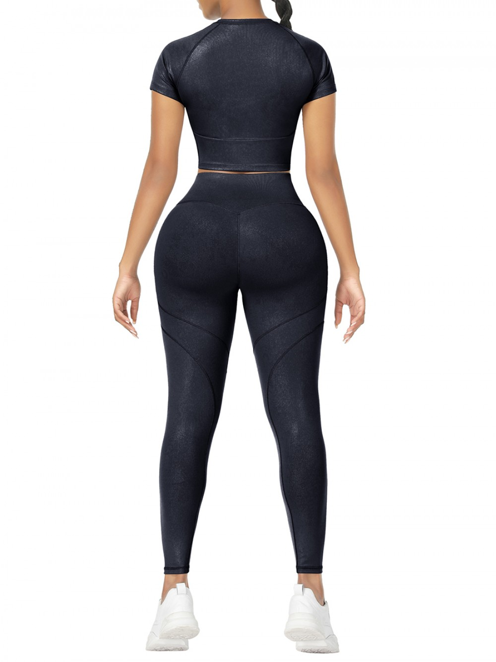 Black Short Sleeves High Waist Yoga Suits For Fitness