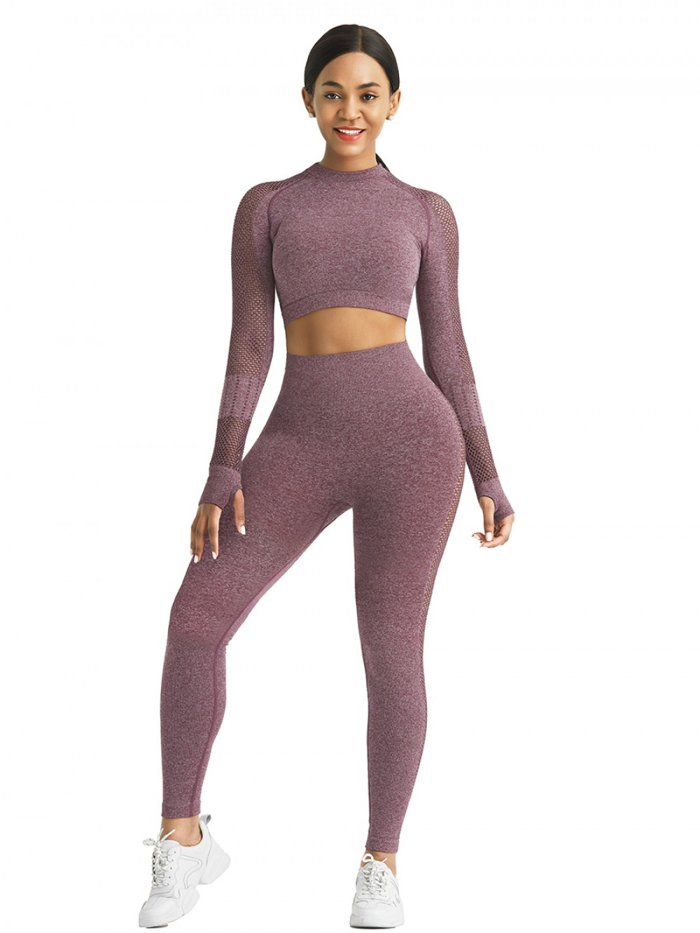 Stretched Wine Red Seamless Yoga Leggings Ankle Length Super Faddish