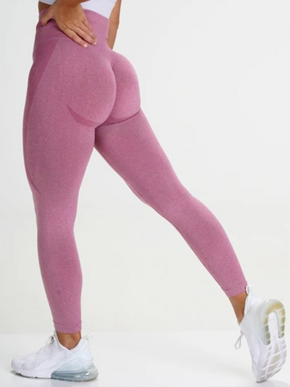 Basic Boutique Pink Ankle Length Seamless Workout Leggings