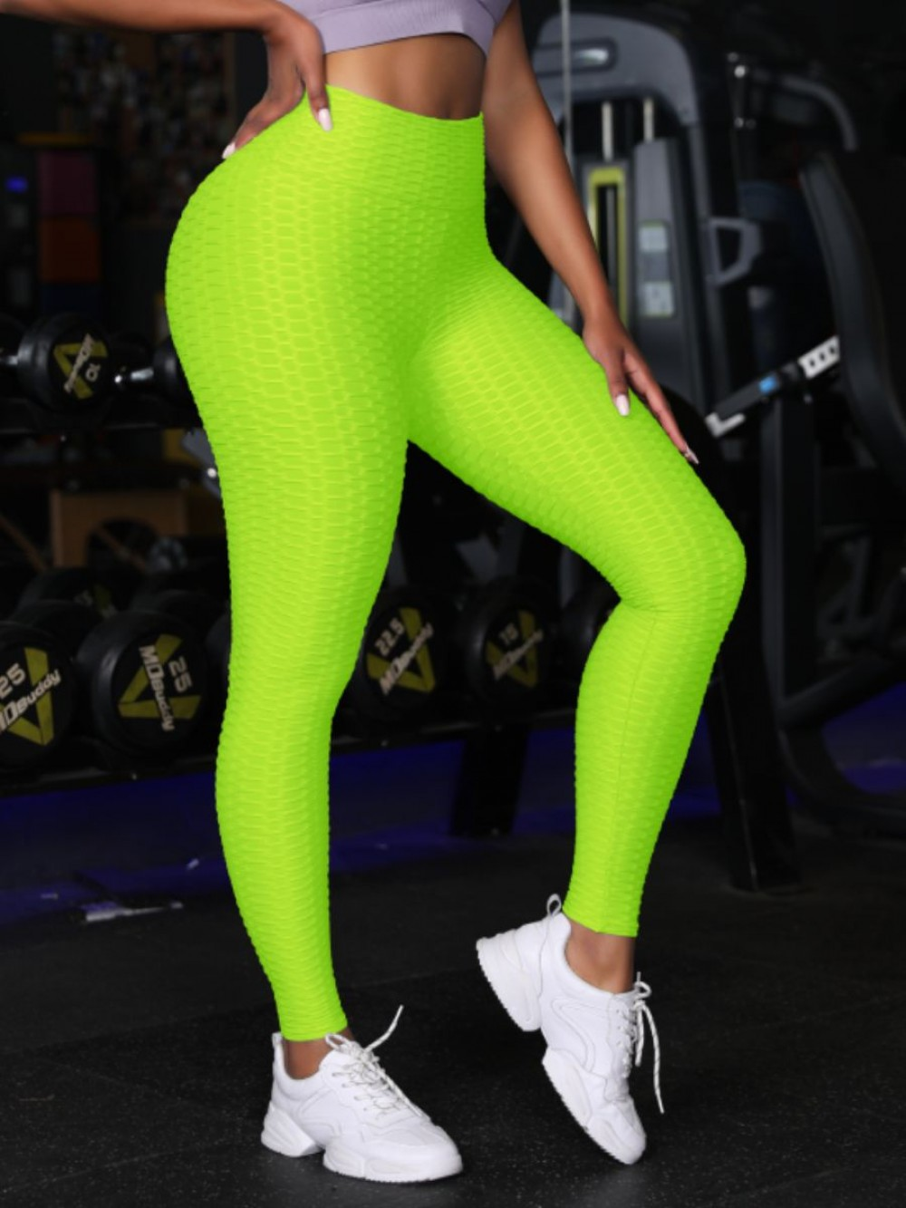 Enthusiastic Fluorescent Green Butt Lifting Yoga Tights Wide Waistband