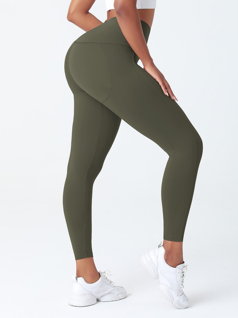 Army Green Wide Wasitband 4-Way Stretch Yoga Pants For Training